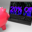 Twenty Percent Off On Laptop Shows Discounts — Stock Photo