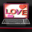 Love On Laptop Shows Romance — Stock Photo