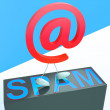 At Sign Spam Shows Malicious Spamming — Stock Photo
