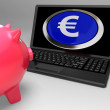 Euro Symbol Button On Laptop Showing Savings — Stock Photo