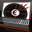 Euro Symbol On Laptop Shows Earnings — Stock Photo