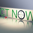 Act Now Shows Urgency To Communicate Fast — Stock Photo