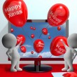 Red Balloons With Happy Xmas For Online Greetings — Stock Photo