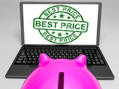 Best Price Stamp On Laptop Showing Promotional Ranking — Stock Photo