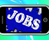 Jobs On Smartphone Shows Vocational Guidance — Stock Photo