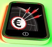 Euro Symbol On Smartphone Showing European Profits — Stock Photo