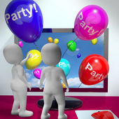 Balloons With Party Text Showing Invitations Sent Online — Stock Photo