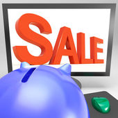 Sale On Monitor Shows Promotional Prices — Stock Photo