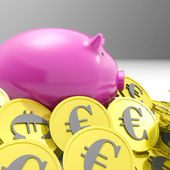 Piggybank Surrounded In Coins Shows European Economy — Stock Photo