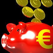 Coins Entering Piggybank Shows European Deposits — Stock Photo