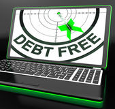 Debt Free On Laptop Showing Financial Discharge — Stock Photo