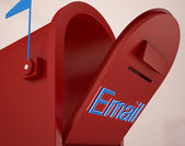 Opened Email Box Shows Outgoing Mails — Stok fotoğraf