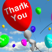 Thank You Balloons Showing Thanks And Gratefulness — Stock Photo