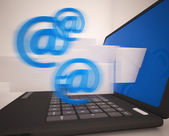 Mail Signs Leaving Laptop Shows Electronic Mails — Stock Photo