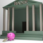 Piggybank Leaving Bank Showing International Currencies — Stock Photo