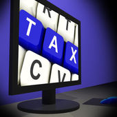 Tax On Monitor Showing Taxation — Stock Photo