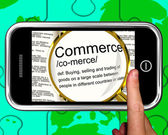 Commerce Definition On Smartphone Showing Commercial Activities — Stock Photo