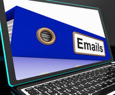 Mails File On Laptop Shows Online Correspondence — Stock Photo