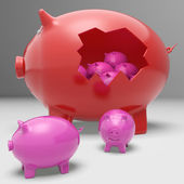 Piggybanks Inside Piggybank Showing Saving Accounts And Banking — Stock Photo