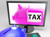 Tax In Piggy Shows Taxation Payment Due — Stock Photo