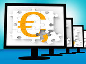 Euro Symbol On Monitors Showing Europe Profits — Stock Photo