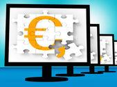 Euro Symbol On Monitors Showing Europe Profits — Stock Photo