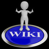 Wiki Button Shows Online Information Or Encyclopedia — Stock Photo