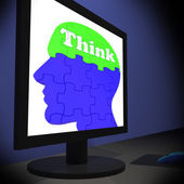 Think On Brain On Monitor Shows Human Solving — Stock Photo