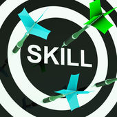 Skill On Dartboard Shows Competencies — Stock Photo