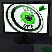 Vinte e cinco por cento de desconto no monitor mostra promoções — Foto Stock