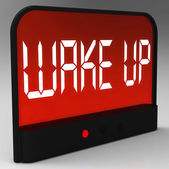 Wake Up Clock Message Meaning Awake And Rise — Zdjęcie stockowe