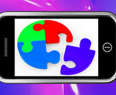Unfinished Puzzle On Smartphone Showing Teamwork — Stock Photo