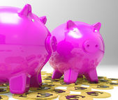 Piggybanks On Euro Coins Showing Richness — Stock Photo