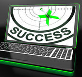 Success On Laptop Showing Successful Progress — Stock Photo