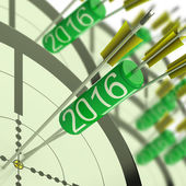 2016 Accurate Dart Target Shows Successful Future — Stock Photo