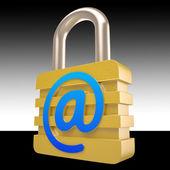 в знак замка показывает обеспеченных частных почты — Стоковое фото