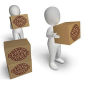 Sample Stamp On Boxes Shows Example Symbol Or Taste — Stock Photo