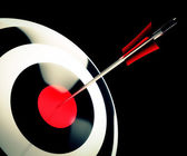 Bulls eye Target Shows Successful Winning Perfect Aim — Stock Photo
