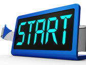 Start Button On Clock Showing Beginning Or Activating — Stock Photo