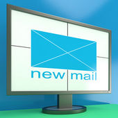 New Mail Envelope On Monitor Showing Received Mails — Stock Photo