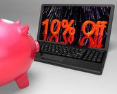 Dix pour cent de réduction sur ordinateur portable montrant des prix réduits — Photo