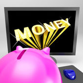 Money Screen Shows Finance Wealth And Prosperity — Stock Photo