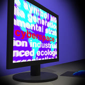 Cyberspace On Monitor Shows Online Technology — Stock Photo