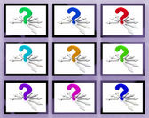Question Marks On Monitors Showing Asked Questions — Stock Photo