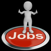 Jobs Computer Button Shows Work And Career — Stock Photo