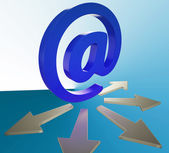 Email Arrows Shows Information Mailed To Addresses — Stock Photo