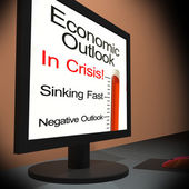 Economic Outlook On Monitor Showing Financial Forecasting — Stock Photo