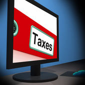 Taxes On Monitor Showing Taxation — Foto de Stock