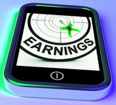 Earning On Smartphone Showing Profitable Incomes — Stock Photo