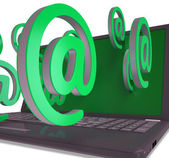At Signs Leaving Laptop Showing Electronic Correspondence — Stock Photo
